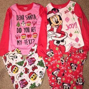 Bundle of 2 girl's Christmas Pajama sets